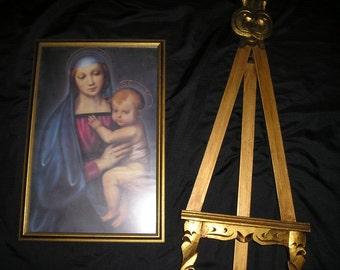 Vintage Religious Beautiful Virgin Mary/Madonna/ Child Jesus Framed Picture w/Wood Carved Display Support/ Stand/Easel Large Set.