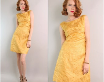 1960's Yellow Brocade Shift Dress / Metallic Cocktail Dress / Small