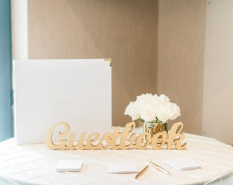 "Wedding Guestbook Sign, Freestanding ""Guestbook"", Wooden Wedding Sign for Wedding Guest Book Table Reception Decor (Item - TGU100)"