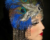 PEACOCK DIVA SOIREE- 20s Flapper Headpiece, Great Gatsby Peacock Cap, 20s Deco Royal Blue & Silver Beaded Cap, Peacock Gatsby Headpiece
