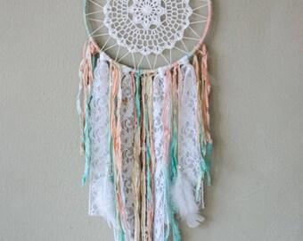 Boho Doily Dreamcatcher Wall Hanging / Mint Pink White