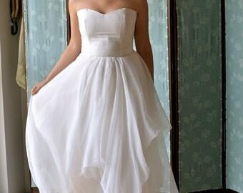 Wedding Dress, Boho wedding dress, fairy wedding dress, silk wedding dress, strapless wedding dress, alternative wedding dress, wedding gown