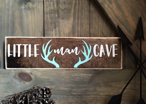 Little Man Cave Sign Woodland Nursery Decor By Doodlesbytrista