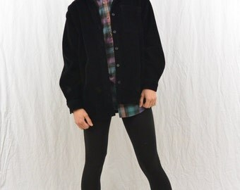 Vintage Oversized Black Corduroy Shirt, Size XS-Small, Grunge, 90's Clothing, My So Called Life, Hipster, Tumblr Clothes, Goth, Punk, Witch
