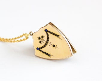 Antique Art Nouveau Rhinestone Shield Shaped Locket Pendant Necklace - Vintage Gold Filled Early 1900s Edwardian Flower Curtain Jewelry