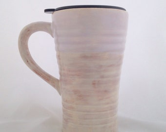 Ceramic Pottery Travel Mug with Lid  - 18 ounces - Cream White and  Brown