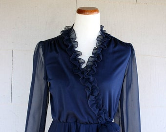 Vintage Dress / 80s Navy Blue Ruffle Dress With Rosette Detail / Small / Sheer Sleeves / Surplice Front / Romantic