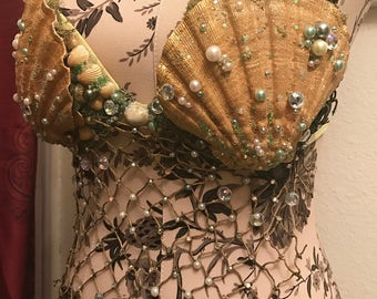Golden Mermaid shell top - Gold and green seaweed Ocean Sea Siren shells rhinestones gems crystals beads glitter shimmer dangle fish netting