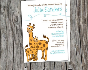 Baby Shower Invitation Giraffe Mama and Baby Printable, April, Boy Girl Gender Neutral DIY Digital File