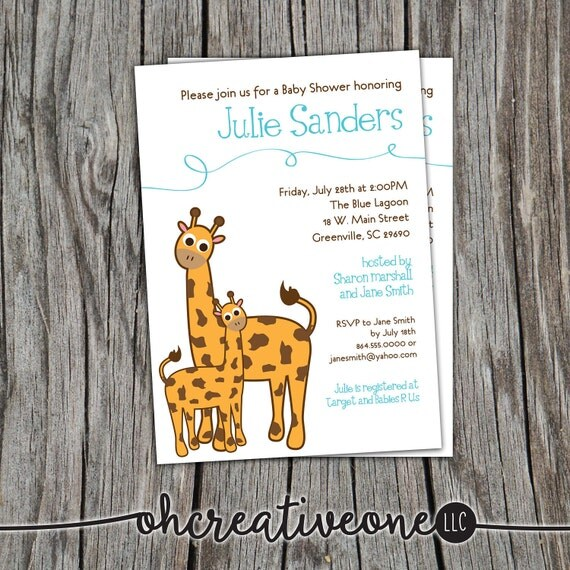 Baby Shower Invitation Giraffe Mama and Baby Printable, April, Boy Girl Gender Neutral DIY Digital File