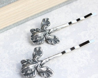 Rustic Iris Bobby Pins Antiqed Silver Brass Hair Pin Woodland Wedding Spring Easter Bridesmaids Gift for Her Symbol of faith and hope
