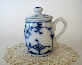 """Vintage Small Blue and White Pitcher with Lid  2.75"""" High"""