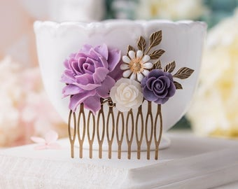 Lavender Purple Wedding Bridal Hair Comb, Vintage Wedding Leaf Branch Floral Hair Accessory, Bridesmaid Gift, Romantic Country Chic Comb