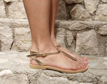 sandals, gold sandals, T- Strap Sandals, leather sandals,Greek Sandals, Gladiator Sandals, summer sandals