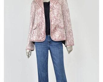 30% 0FF SALE Asian Style Brocade Jacket 90s Blazer Floral Blazer Paisley Jacket Bugundy Pale Pink Jacquard Satin Brocade Blazer