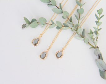 Grey Necklace, Gift for Her, Jewelry, Bridesmaid Jewelry, Bridesmaid Gift, Necklace Gift for Mom, Jewelry Gifts Wife Gift