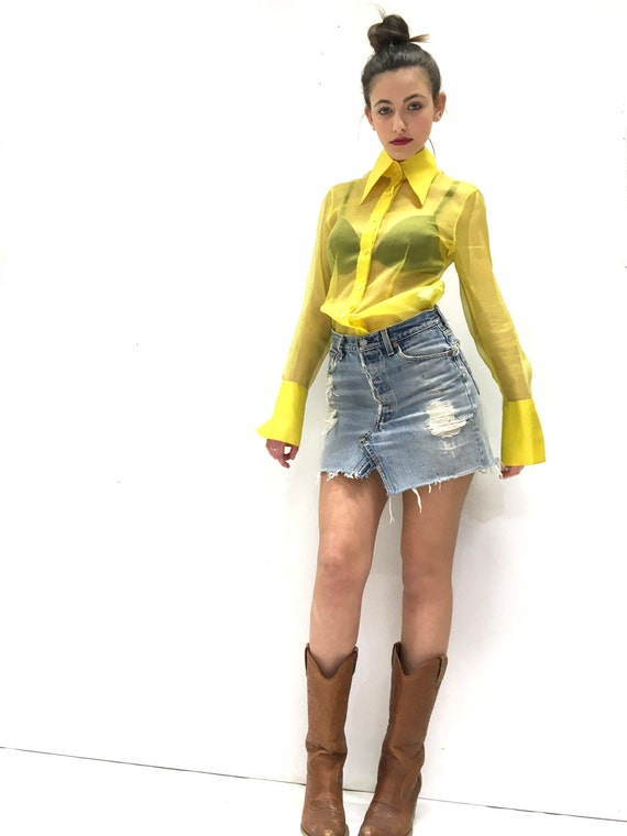 Yellow Shirt Organza Silk Transparent LOLA DARLING Long Sleeve Tailored Manufacture Long shirt cuffs and collar One piece Made in Italy