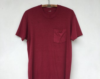 Vintage 70s Paper Thin One Pocket Maroon T Shirt L/XL