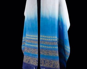 Lightweight Linen Tallit Hand dyed Hand printed OOAK