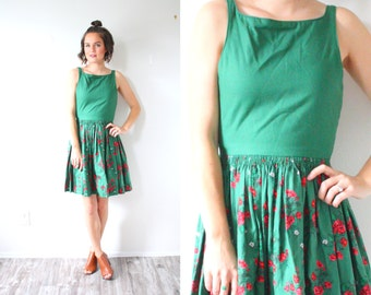 Vintage 60's floral green dress // summer fall dress // tank top dress // dutch full skirt dress // red floral garden 1950's 1960's dress