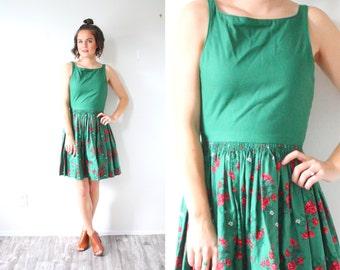 Vintage 60's floral green dress // summer fall dress // tank top dress // dutch full skirt dress // red floral garden 1950's 1960's dress