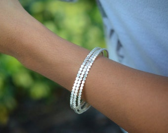 "Sterling Silver Beaded Bracelet • ""Showtime Bangle"" • Chunky Textured Minimal and Bold • Gifts for her"