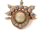 Diamond and Opal Shooting Star Celestial Engagement Ring Set - 14k Rose Gold