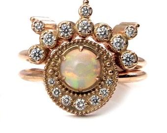 Diamond and Opal Shooting Star Celestial Engagement Ring Set - 14k Rose Gold