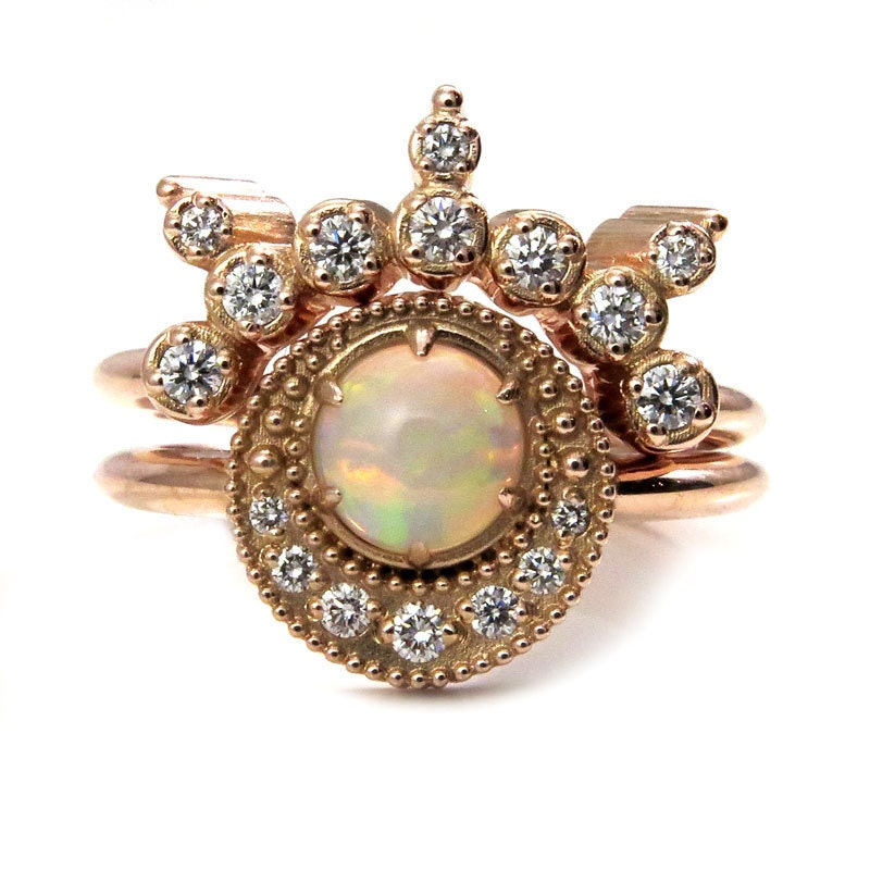 Celestial Bands: Diamond And Opal Shooting Star Celestial Engagement Ring Set