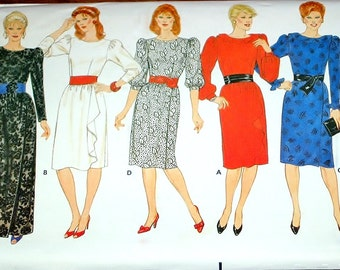 Vintage 1980s Sewing Pattern Butterick 6184 Formal Gown, Evening Dress, Puff Sleeve Maxi, Womens Miss Size 12 14 16 Bust 34 36 38 Uncut FF