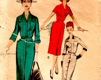 1956 Butterick 7978 18.5 B39 Womens Tailored Dress in Half Size Pattern Slim Dress Sewing Pattern Supply Lapel Collar Hip Pockets Fly Front
