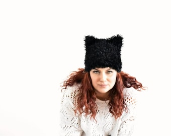 Black pussycat hat, cat ear hat, cat hat, kitty hat, hat with ears, pussycat beanie, animal hat, pussyhat, women march hat, fur pussy cat