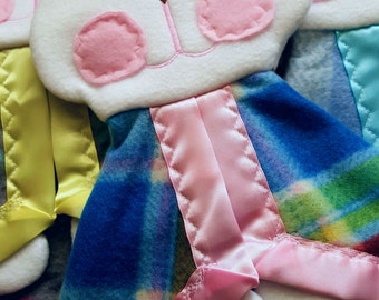 Fisher Price Bunny Puppet Security Blanket Lovey replica rainbow plaid
