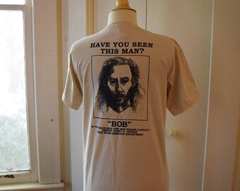 Twin Peaks T Shirt Owl Cave Front Chest and Bob Wanted Poster on Back David Lynch Fan Shirt Youth Medium