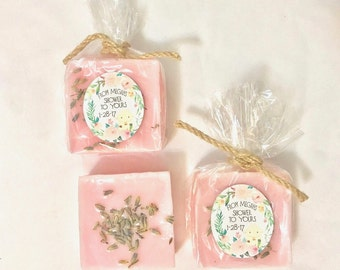 30 Lamb Baby Shower Party Favors-  Lavender Soaps Rustic Twine Bow - Custom Box colors and Custom Label - Its a girl Baby Shower