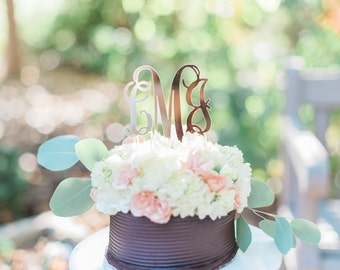 Acrylic Gold Monogram Mirror Cake Topper - Other Colors Available