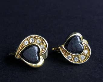 "Vintage 1980s ""Avon"" Black and Gold Heart Clip-On Earrings with Rhinestone Detail"