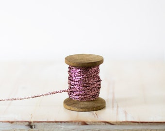 Purple Pink Glitter String (with Wooden Spool) - 10 yards