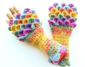 Dragon Scale Fingerless Gloves - Womens Sizes - Crochet Angora Arm Warmers - Crocodile Stitch Wrist Warmers