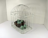 Vintage DOMED WIRE BIRDCAGE Small White Metal Garden Decor Candle/Plant Holder