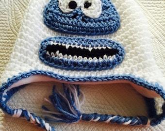 Abominable Snowman Hat, Bumble Crochet Hat Crochet Child Hat, Crochet Snowman Hat with Fleece Lining,