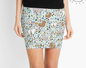 Llama Skirt, Llama Skirt for Women, Llama Fashion Women, Llama Gifts for Her, Cute Llama Skirt, Llama Miniskirt, Llama Pattern Skirt
