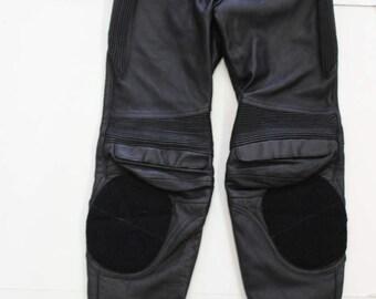 Vintage Black Leather Trousers - Biker Pants -  Motorbike Motorcycle - Punk Rock - High waist-zips pocketsGenuine Leather -Small Size