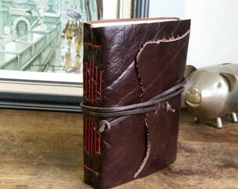 Handmade Leather Journal, Dark Brown Hand-Bound 4.75 x 6 Journal by The Orange Windmill on Etsy 1742
