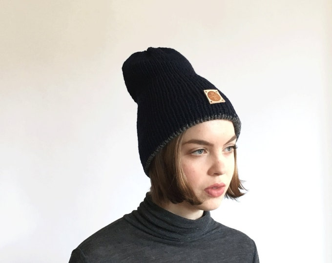 Reversible Two Layer Navy & Gray  Slouchy Wool Knit Beanie Winter Hat