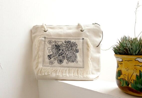 Shoulder bag, bohemian handbag, Vegan tote bag, embroidered birds & flowers, rope straps, frayed pocket, ecru cotton canvas.Womens gift.Boho