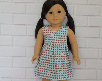 Blue Strawberry Pleated Sleeveless Dress Doll Clothes to fit 18 inch dolls to 20 inch dolls such as American Girl & Australian Girl dolls