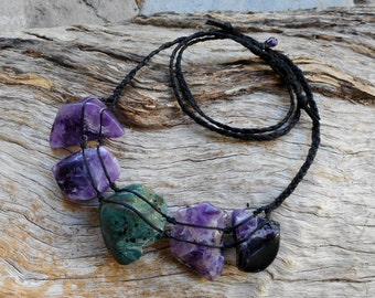 Amethyst and Jasper Necklace Australian Gemstone Necklace Gypsy Jewels by Ariom Designs