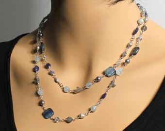 Blue Gemstone Necklace, Bracelet, Sterling Silver wire wrap, kyanite, aquamarine, labradorite, blue aventurine, pearls, Swarovski, 3300