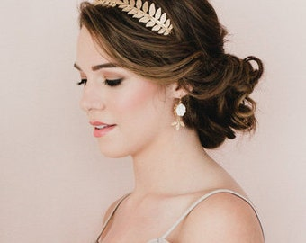 Brass Leaves Headband. Bridesmaid Leaves Headband.